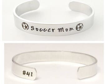 Soccer mom bracelet with childs number on end of cuff, soccer  team, player coach, mom, soccer  jewelry