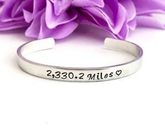 Miles away bracelet, custom long distance bracelet , add your number on this cute bracelet, long distance  relationship, family
