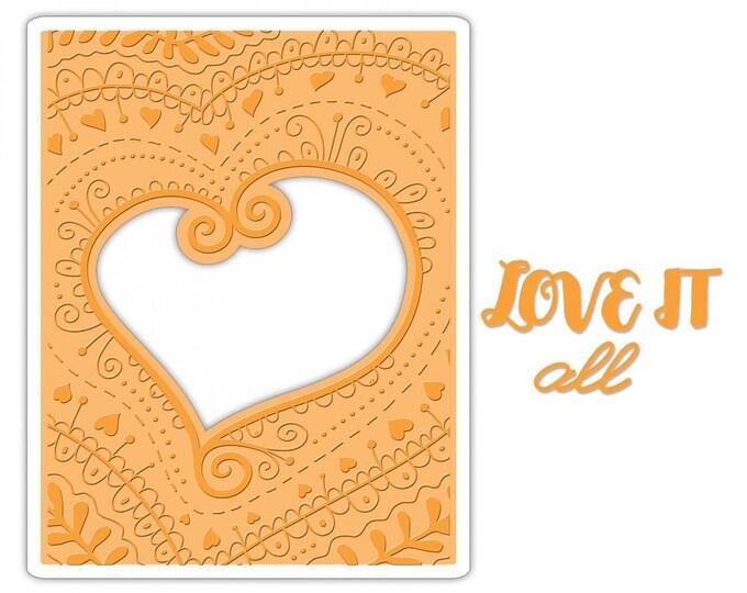 New! Sizzix Impresslits Cut & Emboss Embossing Folder - Bohemian Heart 661953