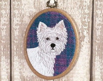 Scottie dog embroidered hoop art - West Highland Terrier picture - Scottie dog picture - embroidered dog picture - Harris Tweed textile art