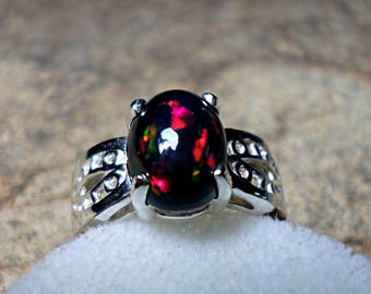 Ethiopian Welo Black Opal Ring, Ring,Smoked Black Opal Ring,Fine Jewelry, Sterling Silver Ring, October Birthstone, Black Opal Ring