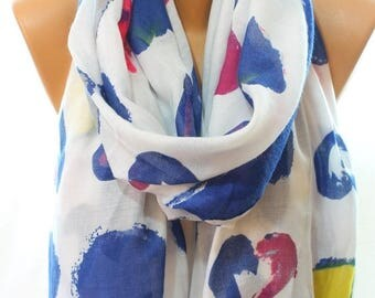 Valentine Gift Heart Print So Soft Navy Yellow White Scarf Summer Scarves Cotton Scarf Women Fashion Accessories Gift Ideas For Girlfriends