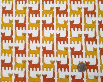 Vintage cotton fabric 1960s Danasco Cats