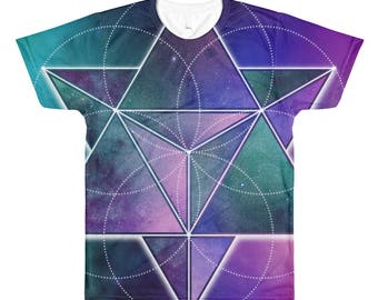 All-Over Printed T-Shirt - Space Geometry Purple Triangles 1 All-Over T-Shirt