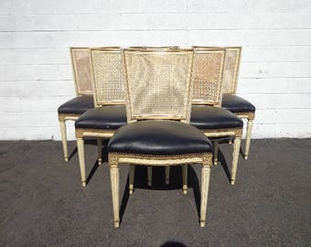 Dining Chairs 6 Louis XVI Chair Country French Provincial Neoclassical Cane Fluted Shabby Chic Hollywood Regency Seating Carved Wood Vintage