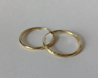 14k Yellow Gold Engraved Polished & Satin Finish Endless Hoop Earrings 1""