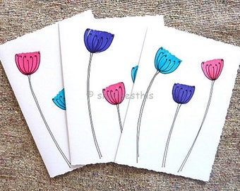 Handmade original cards seed heads ink drawing Blank Note ART Cards Invitation Birthday Thank You Card set of 3