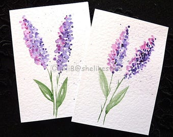 Handmade original cards watercolour flowers Blank Note ART Cards Invitation Birthday Thank You Card set of 2