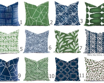 Pillow Covers Custom - Blue Italian Denim Pine Green Kelly White Linen Look Ikat Tribal Modern- All sizes 16x16  18x18  Throw Accent