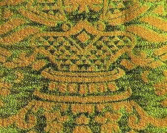 Midcentury vintage green gold barkcloth fabric