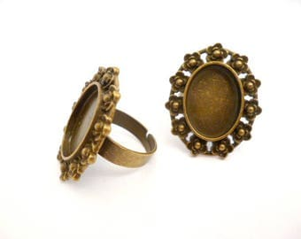 Solid Bronze Adjustable Base Ring _ANT02210457/3054_Base Ring _Oval Cameo of 13x18 mm _ pack 4 pcs