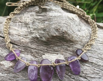 Handmade Hemp Macrame Crystal Necklace with Amethyst Beads