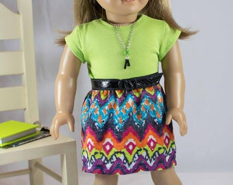 American Girl or 18 Inch Doll SKIRT in Lime Green Purple Turquoise  with Lime Green TEE Shirt Top Necklace and SHOES Option