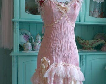 Handmade Pink Dress Romantic Vintage Lace Burlesque