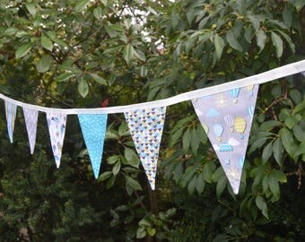 Handmade Fabric Bunting Turquoise/Yellow/White/Grey Air Balloons/Clouds/Raindrops Sunshine & Showers Design 12 Medium Double-sided Flags
