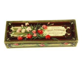 Art Deco style  box - French Roger & Gallet Paris soap carnation empty box