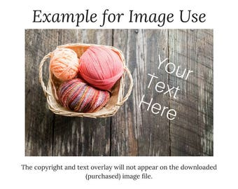 Styled Stock | Digital Download | Pink/Multicolor Yarn Basket & Crochet Hook | Farmhouse Plank Wood | Flat Lay Horizontal Image