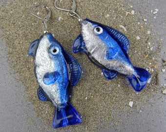 Glass fishes-Lampwork glass fish earrings-Glass earrings