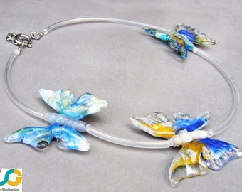 Butterfly necklace-Lampwork necklace with colorful butterflies-lampwork necklace-glass necklace
