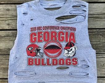 Georgia Bulldogs UGA 2005 SEC Conference Champions Rebel Fray Custom Distressed Open Back Crop Tank Top Shirt Women's M-L