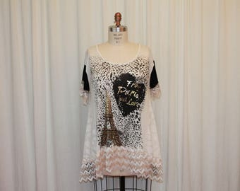 Paris top Summer  blouse Shabby Boho chic Eco wearable art womens clothing Little white dress Upcycled tunic Heart print Shabby lace blouse