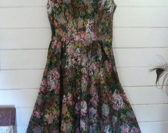 Vintage 50's Floral Polished Cotton Sundress Dress with Matching Bolero Jacket