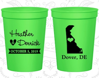Delaware Wedding Cups, Delaware Wedding, Promotional Party Cups, Destination Wedding, State Cups, Plastic Cups (107)