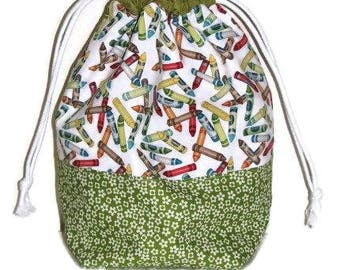 Fabric Drawstring Bag, Project Bag, Fabric Gift Bag, Travel Toy Bag, Shoe Bag, Crayons and Flowers Tote Bag, Quiltsy Handmade