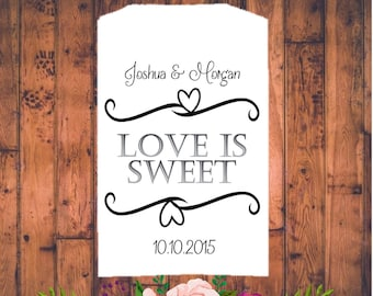 Love is sweet, Wedding candy buffet bags, Candy bar bags, Candy buffet, Wedding candy bags, Custom Wedding Favor, Wedding Favor Bags, Candy