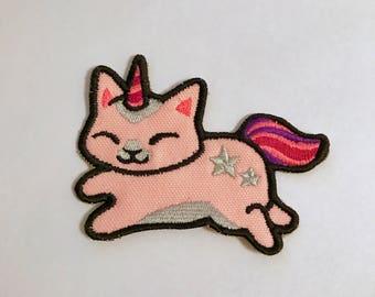 Light Pink Unicorn Cat Sew on Patch