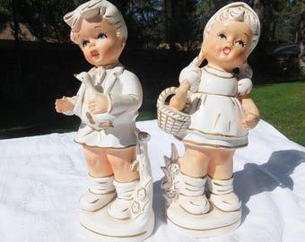 Sweet Little Chalkware Boy and Girl, Chalkware Figurine