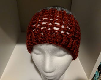Ruby - messy bun beanie = pony tail hat = dark red (burgundy) & grey