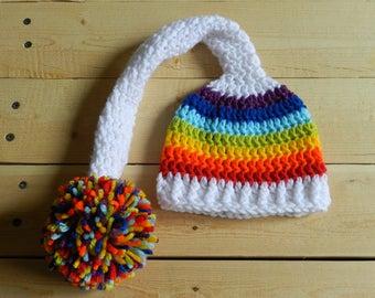 Rainbow Baby Hat - Rainbow Hat - Newborn Rainbow Hat - Rainbow Baby - Photo Prop - Photography Prop - Newborn Rainbow Baby - Baby After Loss