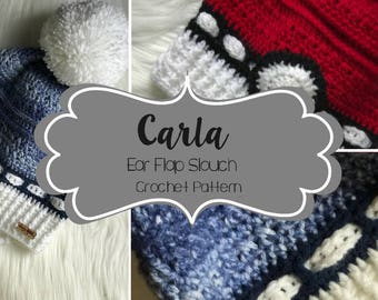 Crochet Pattern // Carla Ear Flap Slouch // Easy