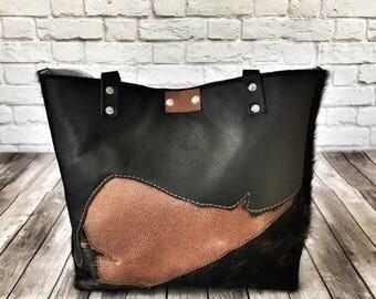 Black and Brown Cowhide Tote / Leather Tote Bag / Rustic Leather Tote Bag / Black Leather Tote / Brindle Cowhide Purse