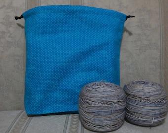 Blue dots: Large Drawstring Project bag