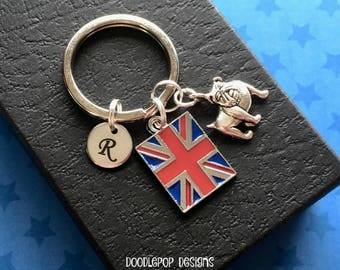 Personalised British Bulldog keyring - Union Jack keyring - Gift for him - Bulldog keychain - Initial keyring - Stocking filler - Etsy UK