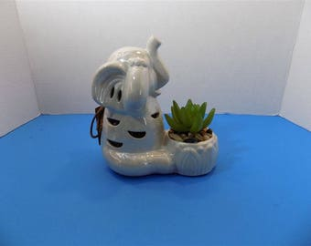NEW RARE Ceramic See No Evil Good Luck Elephant Figurine GC Naturals Potpourri Sachet Scent Holder & Faux Cactus Zen