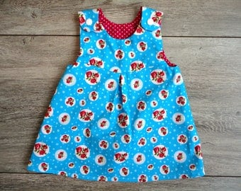 Reversible Baby dress with flowers