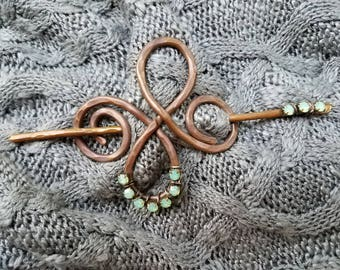 Recycled copper shawl scarf or sweater pin with turquoise rhinestones