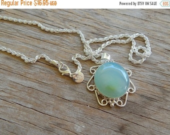 ON SALE NOW Chalcedony Gemstone 925 Sterling Silver Overlay Vintage Pendant