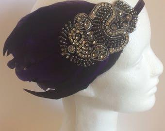 Purple Great Gatsby headband, purple feather fascinator, purple and black 1920s headpiece rhinestone tiara