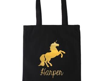 Unicorn Personalized Tote Bag // Gold // Silver //  Unicorn School Book Bag // Kids Tote Bag