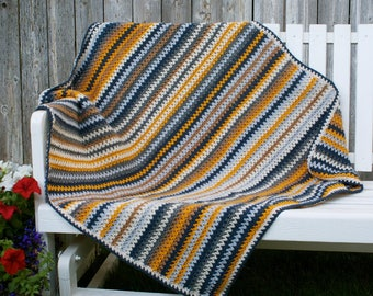 Crochet, V-stitch, Dusty Denim baby/toddler/adult lap crochet blanket