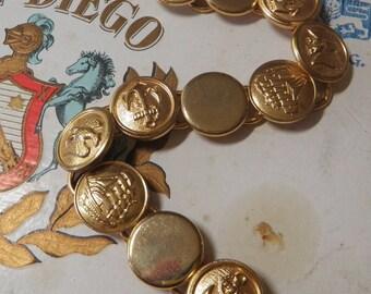 Nautical Brass Button Bracelet