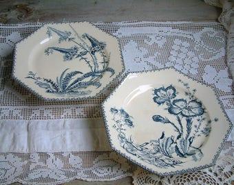 One antique french blue transferware cake stand. Footed cake plate. Ironstone blue transferware. French transferware. Jeanne d'Arc living