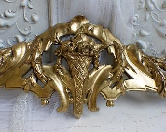 Antique french bronze furniture pediment / ornament. Louis XVI style. Basket motif.Antique hardware Bronze swag Architectural salvage.