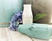Robin Egg Blue DAIRY Milk Bottle ~ Shabby Cottage Chic 8oz Painted Vase ~ Vintage Farmhouse Style Kitchen Boho Country Wedding Decoration