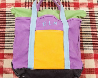 80s/90s Vintage Color Block LL Bean Freeport Maine Boat and Tote Bag Metal Zipper Top Made in USA Embroidered BLM Black Lives Matter Purple
