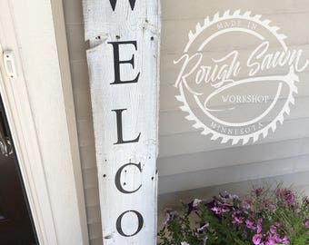 Whitewashed Reclaimed Barnwood Porch Welcome Sign